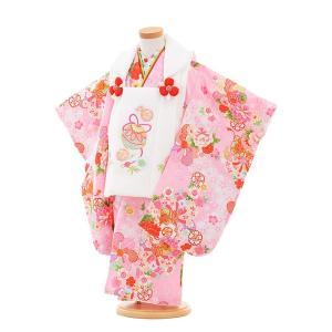 七五三着物レンタル(3歳女の子被布)3307白鈴×ピンク鼓に花