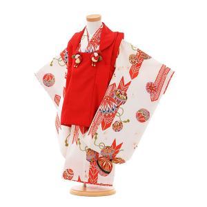七五三着物レンタル(3歳女の子被布)3314赤×白矢がすりまり