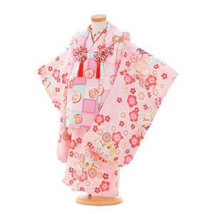 七五三着物レンタル(3歳女の子被布)3316ピンク×ピンク花まりいぬ