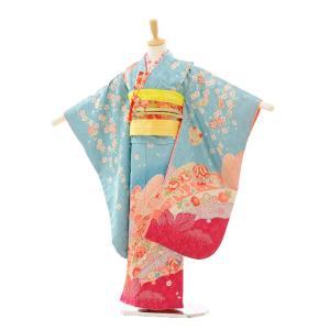 七五三 レンタル 着物 (7歳 女の子結び帯)7238 水色 しだれ桜ま