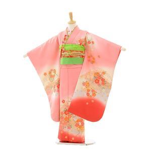 七五三 レンタル 着物 (7歳 女の子結び帯)7239 ピンクぼかし 梅桜