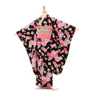 七五三 レンタル 着物 (7歳 女の子結び帯)7240 黒地 花と蝶