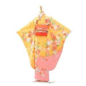 七五三着物レンタル(7歳女の子結び帯)7248 黄色 裾ピンク桜ま