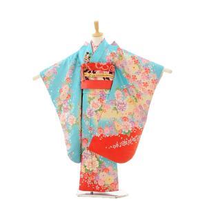 七五三 レンタル 着物 (7歳 女の子結び帯)7251 水色 裾赤 花