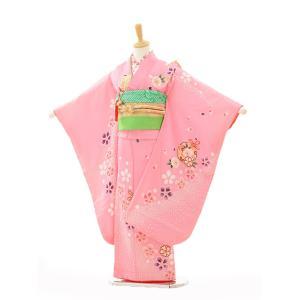 七五三 レンタル 着物 (7歳 女の子結び帯)7260 ピンク桜に鈴