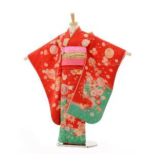 七五三 レンタル 着物 (7歳 女の子結び帯)7263 赤裾グリーンまり