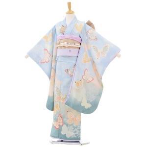 七五三 レンタル 着物 (7歳 女の子結び帯)7295 JILL STUART 蝶々 水色