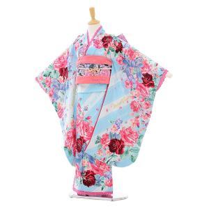 七五三着物レンタル(7歳女の子結び帯)7308 メゾピアノ 水色 リボンバラ