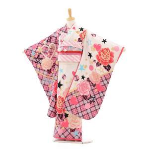 七五三(7歳女の子結び帯)7311 白×ピンク チェックバラ(南明奈)