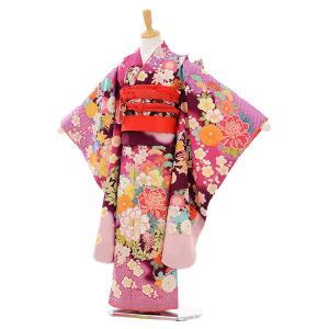 七五三 レンタル 着物 (7歳 女の子結び帯)7413 乙葉 紫地 花づくし