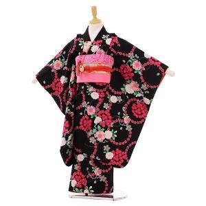 七五三着物レンタル(7歳女の子結び帯)7466 黒地 桜...