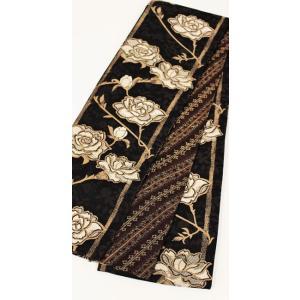 半幅帯 西陣織 リバーシブル すぐ使える 仕立て上がり 薔薇 チャコール|kyoto-wabitas