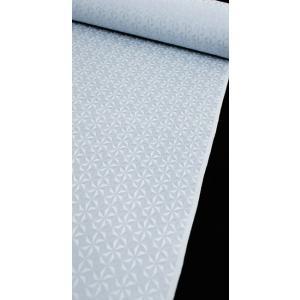 色無地 正絹反物 カジュアル 麻の葉切子 ブルーグレー|kyoto-wabitas