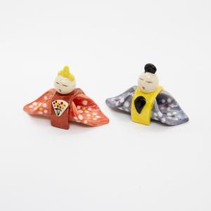 お中元 箸置き 雛 雛人形 インテリア 大人 陶器 おしゃれ ペア 飾り 手作り 和食器|kyotomarche