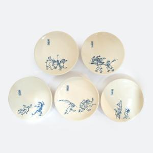 鳥獣戯画 清水焼 皿 器 小皿 京焼 5枚 セット 4寸 銘々皿 陶器 手作り グッズ kyotomarche