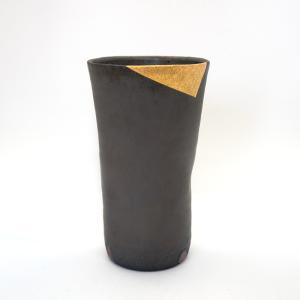 お中元 多屋嘉郎 清水焼 京焼 フリーカップ ビアカップ 陶器 おしゃれ 黒釉金彩 手作り 和食器|kyotomarche