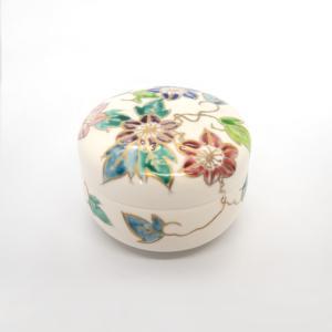お中元 清水焼 京焼 日昇陶器 北本 薬味入れ 蓋物 花 花柄 丸蓋物 鉄線蓋物 陶器 手作り|kyotomarche