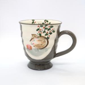 お中元 嘉峰窯 マグカップ かわいい おしゃれ ねこ 猫 紅茶 カフェ 和風 ほっこり 清水焼|kyotomarche
