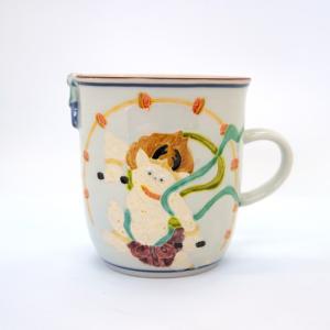 お中元 清水焼 京焼 マグカップ 和風 一珍雷神マグカップ 陶器 和食器|kyotomarche