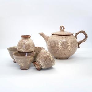 お中元 森里陶楽 森里良三 清水焼 京都 ティーセット 石瓶 急須 紫三島煎茶器 陶器 手作り 和食器|kyotomarche