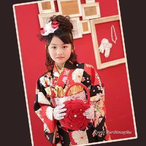 七五三 着物 7歳用 レトロ 古典 お祝い着 『平安』 (四つ身着物 重ね衿 長襦袢 作り帯 髪飾り 帯板 バッグ レース手袋 こっぽり)|kyotorurihinagiku