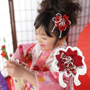七五三 髪飾り 3歳 7歳 つまみ細工 「 舞妓さくら 」 つまみ ぱっちん パッチン 古典 京都 ツマミ こども 女の子 ヘアーアクセサリー|kyotorurihinagiku