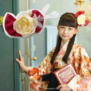 卒業式 髪飾り ヘアアクセサリー 「 牡丹 」 七五三 結婚式 日本製 リボン 赤 古典 和風 京都 こども キッズ 女の子|kyotorurihinagiku