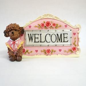 トイプードル & 薔薇 welcome ウエルカムプレート  ヨーロピアン 玄関 インテリア 姫系 雑貨 バラ 母の日 新居 新築祝い 開店祝い ペット プレゼント|kyotorurihinagiku