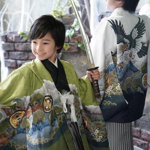 七五三 着物 男の子 セット 袴 白系 羽織袴セット はかま フルセット 5歳 5才 五歳 着物セット 販売 シンプル|kyotorurihinagiku