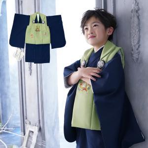 男の子 3歳 着物 被布セット 被布 5点セット お正月 誕生日 七五三 3才 5才 三歳 五歳 子供 肩上げ&腰上げ加工済|kyotorurihinagiku