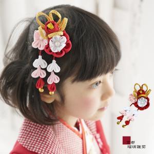 七五三 髪飾り 三歳 七歳 「金と梅の髪飾り」 つまみ髪飾り つまみ細工 和風 ヘアーアクセサリー 鈴付き 卒園式 卒業式 こども 女の子 お正月 日本製|kyotorurihinagiku