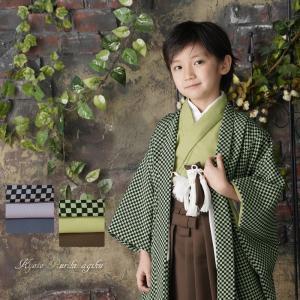 七五三 男の子 5歳 袴 市松 着物 セット 羽織袴セット はかま フルセット 5歳 5才 五歳 着物セット 販売 クール シンプル カッコイイ|kyotorurihinagiku
