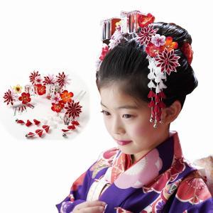七五三 髪飾り 7歳 七歳 日本髪 3点セット 「菊」 つまみ髪飾り つまみ細工 女の子 和風 ヘアーアクセサリー 日本髪用 卒園式 本格的 京都 こども 日本製|kyotorurihinagiku