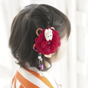 七五三 髪飾り 三歳 七歳 「花うさぎ(赤)」 ちりめん細工 和風 ヘアーアクセサリー 卒園式 かわいい おしゃれ 京都 こども 女の子 お正月 きもの お祝い|kyotorurihinagiku