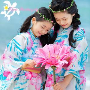 6月24日発売予定 浴衣 子供 浴衣セット 子ども浴衣 ゆかた キッズ セット ホヌ ウミガメ 海亀 ハイビスカス 110 120 130 浴衣+帯の2点セット|kyotorurihinagiku