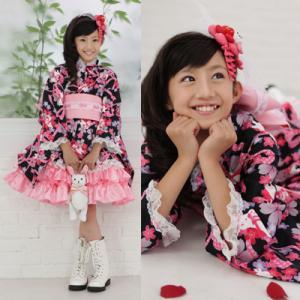 ≪七五三早割りセール≫ 七五三着物 着物ドレス『雪うさぎの着物ドレス(黒)』 きもの 女の子 着物ドレス+作り帯の2点セット|kyotorurihinagiku