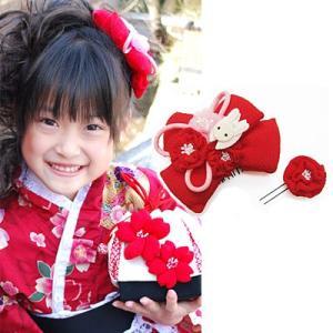 七五三 髪飾り 「飛びうさぎのちりめんリボンの髪飾り(赤)」 七五三  結婚式  お祝い プレゼントに|kyotorurihinagiku