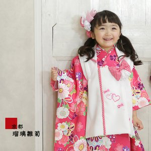 七五三 着物 被布セット 着物 3才 『 桜くすだま(ローズピンク) 』 こども 子供 子供用 お祝い着 753|kyotorurihinagiku