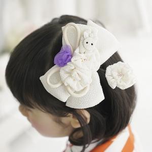 七五三 髪飾り リボン  3歳 7歳 三歳 七歳「飛びうさぎのちりめんリボンの髪飾り(白)」 女の子 子供 ヘアアクセサリー 和装 結婚式|kyotorurihinagiku