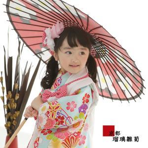 七五三 着物 3歳 フルセット 購入 被布セット 着物 3才 『 桜くすだま(水色) 』 こども 子供 子供用 お祝い着 753|kyotorurihinagiku