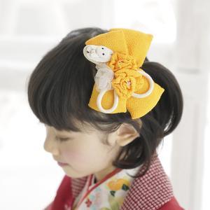 七五三 髪飾り  3歳 7歳 リボン 「飛びうさぎのちりめんリボンの髪飾り(黄色)」 女の子 ヘアセット ヘアアクセサリー 和装 子供 ちりめん細工|kyotorurihinagiku