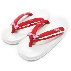七五三 草履 子供用 こども 七五三 「プリンセス・レース」白台に赤の鼻緒 刺繍 リボン|kyotorurihinagiku