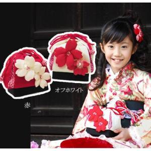 七五三 巾着 バッグ  「桜」 ちりめん 七五三 子供 こども 結婚式 お祝い プレゼントに|kyotorurihinagiku