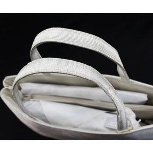 和装バッグ 礼装用 フォーマル トートバッグ 手提げバッグ シルバー サブバッグ 横長 日本製 金襴 唐草模様 kyou-ka 05