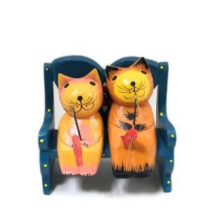 商品名  釣り猫ペア 木のインテリア雑貨  ベンチ(イス)のサイズ  高さ 約13センチ  横幅 約...