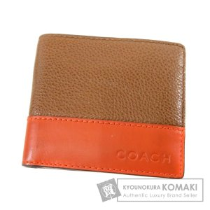 92391805918f COACH コーチ ロゴ型押し 二つ折り財布(小銭入れあり)レザー メンズ 中古