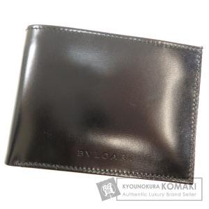 BVLGARI ブルガリ ロゴ型押し 二つ折り財布(小銭入れなし)レザー レディース 中古