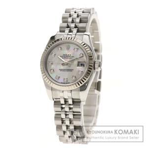 14a0a7cad9 ROLEX ロレックス 179174NG デイトジャスト 10Pダイヤモンド 腕時計 ステンレススチール/SS/K18WG レディース 中古