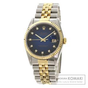 ROLEX  ロレックス 16233G デイトジャスト 10P ダイヤモンド 腕時計  ステンレススチール SS K18 YG K18 YG メンズ  中古|kyounokura