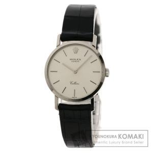 ROLEX  ロレックス 4109 9 チェリーニ 腕時計  K18 ホワイトゴールド 革 レディー...
